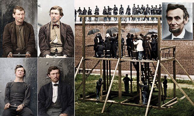 Images show the conspirators handcuffed before their trial and a picture of their hanging alongside a colourised image of what is thought to be the last photo of Lincoln before his death.
