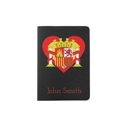 Spain/Spanish flag-inspired Hearts Personnalised Passport Holder - travel passport holders customize diy custom personalize traveling