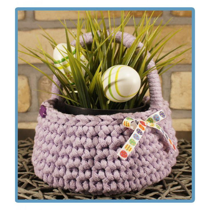 ręcznie robiony koszyk olimpia handmade ze sznurka bawełnianego