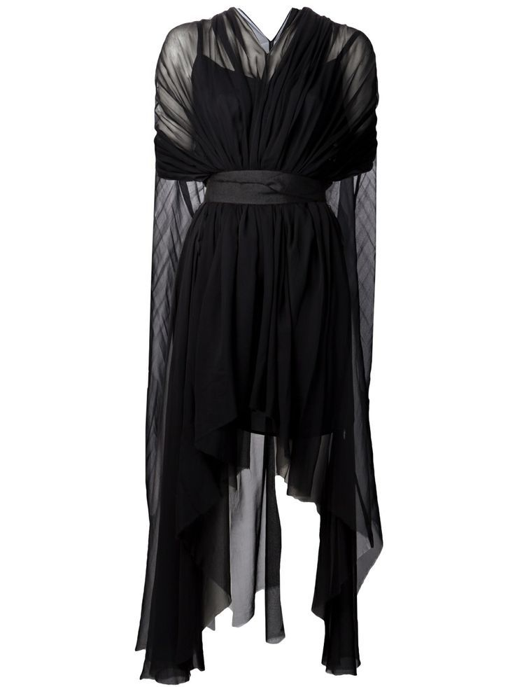 Louiza Babouryan Waterfall Cape Dress