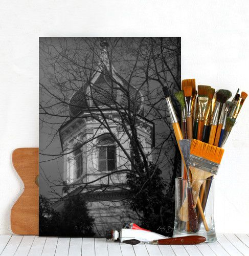 """Hidden Tower"" Black and White Photography on Metal Print by Emily Pigou #blackandwhite #tower #old #manor #horror #trees #branches #photography #grey #emilypigou #displate  #Black&White #Gothic #gothictower #homedecor #wallart #photography #gothicphoto #giftsforhim #giftsforher #homegifts #buy #save"