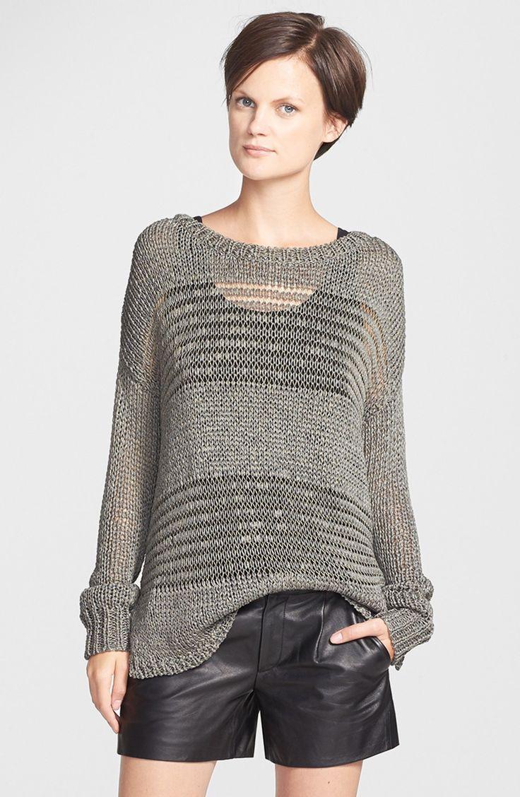 Vince Shadow Stripe Open-knit Sweater in Acorn