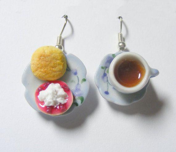 Cream Tea Miniature Food Earrings - Miniature Food Jewelry via Etsy