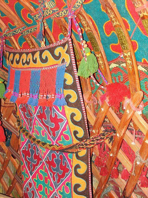 Decorated yurt interior, Kyrgyzstan by tracingtea.images, via Flickr