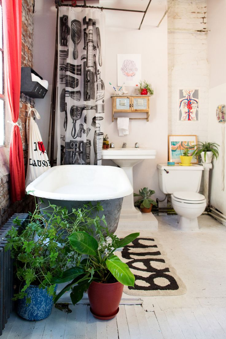 how to make a white apartment bathroom yours, mixed patterns and tons of plants!