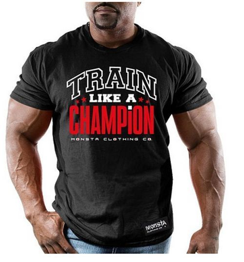 Monsta Clothing Bodybuilding Mens Wear Champion Black Graphic T Shirt Gym 492254f876e