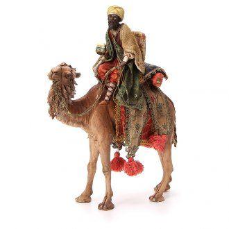 Re Magio moro con cofanetto su cammello 18 cm Tripi | vendita online su HOLYART