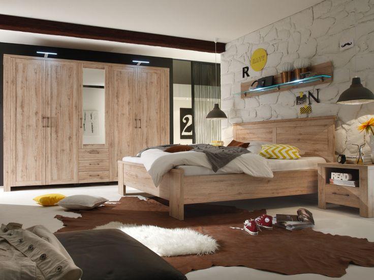 LEROY Bett / Doppelbett 180x200 Eiche San Remo hell
