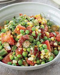 Summer's most prolific veggies: Corn!   Corn is best eaten within a day or so of harvest because its sugars begin turning starchy soon after it's picked. Look for ears with husks that are bright green, moist and tight.  Then, make this Sweet Corn Succotash.