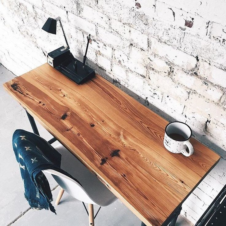 Our slim writing desk made with 100+ year old heart pine.
