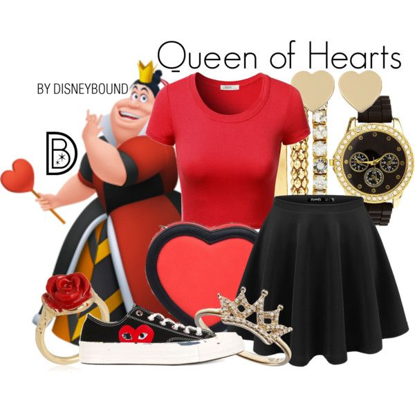 Queen of Hearts by leslieakay on Polyvore featuring J.TOMSON, Play Comme des Garçons, 3AM Imports, Charlotte Russe, LeiVanKash, Kate Spade, disney, disneybound and disneycharacter