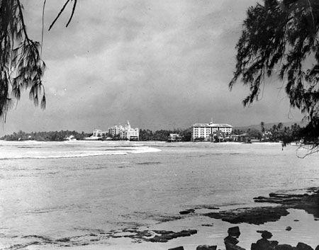 A 1938 photo of the Royal Hawaiian and Moana Hotels on Waikiki Beach