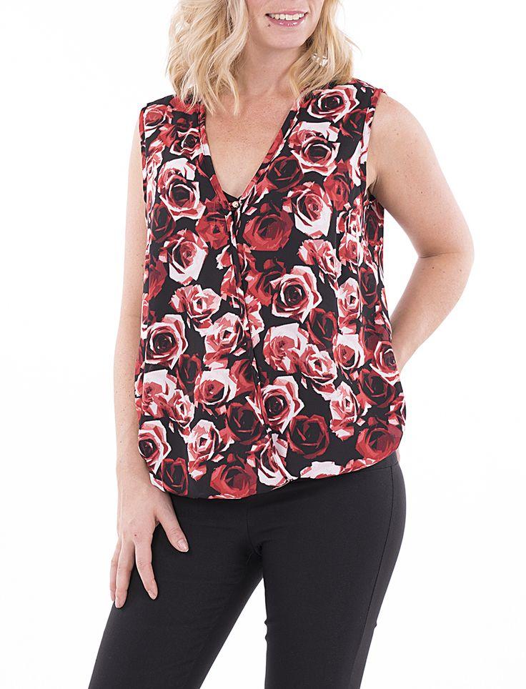 Haut à encolure croisée avec motif de roses - Mode Choc | Le grand magasin de la mode
