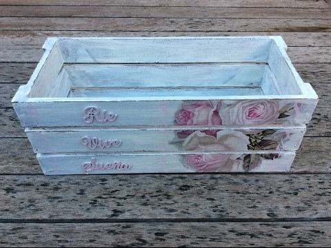 Caja de madera decorada con decapado y decoupage - conideade - YouTube