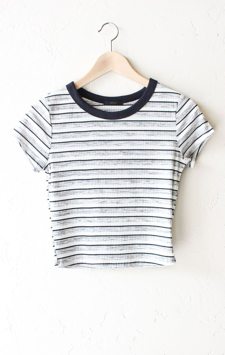 "- Description Details: Striped ribbed crop top in black/white/grey with black contrast collar. Form fitting, tend to run on the smaller side & are more fitted. Measurements (Size Guide): S: 31"" bust,"