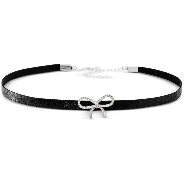 Giani Bernini Cubic Zirconia Bow Choker Necklace in Sterling Silver, ($33) ❤ liked on Polyvore featuring jewelry, necklaces, black, bow choker, cz jewellery, bow choker necklace, giani bernini jewelry and choker necklace