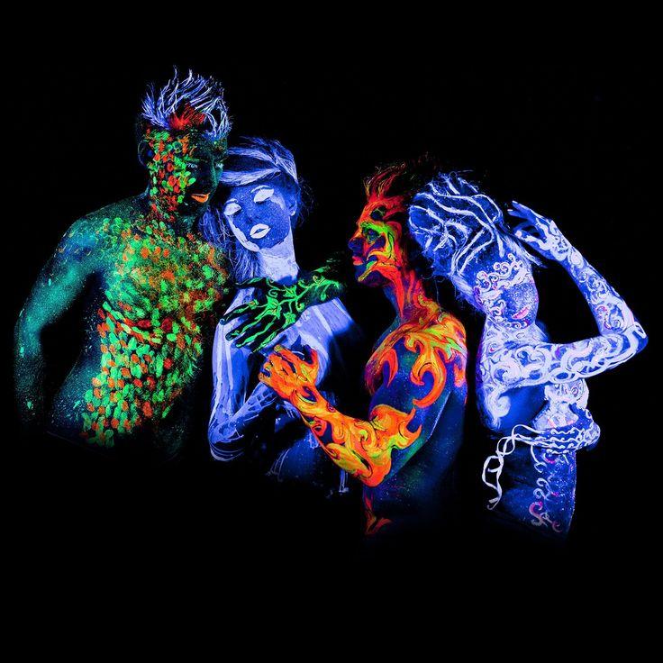 neon nights UV-Licht Bodypainting Schminke | Schwarzlicht-Körperfarbe für Body und Facepainting | Fluoreszierende Farben im Schminkset für knalligen Glow-Effekt | 8 x 20ml Leucht-Farben: Amazon.de: Beauty