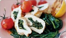 chicken stuffed with spinach, goat cheese and artichoke hearts.