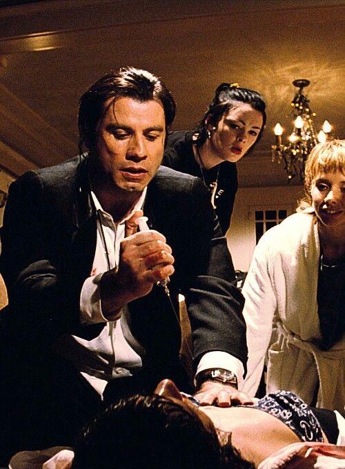 John Travolta,Rosanna Arquette,Bronagh Gallagher & Uma Thurman in Pulp Fiction (1994)