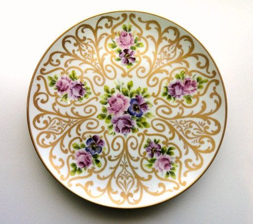 Vintage Hand Painted Plate, Pink Roses and Purple Pansies with Lots of Gold Scrolling, Vintage China