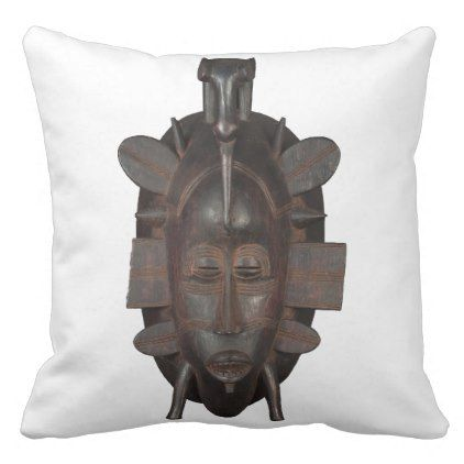 Senufo African Mask Design Large Pillow  $44.95  by LZDUZIT  - custom gift idea