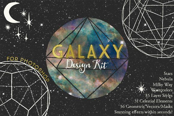 Galaxy Design Kit for Photoshop by Alaina Jensen on @creativemarket