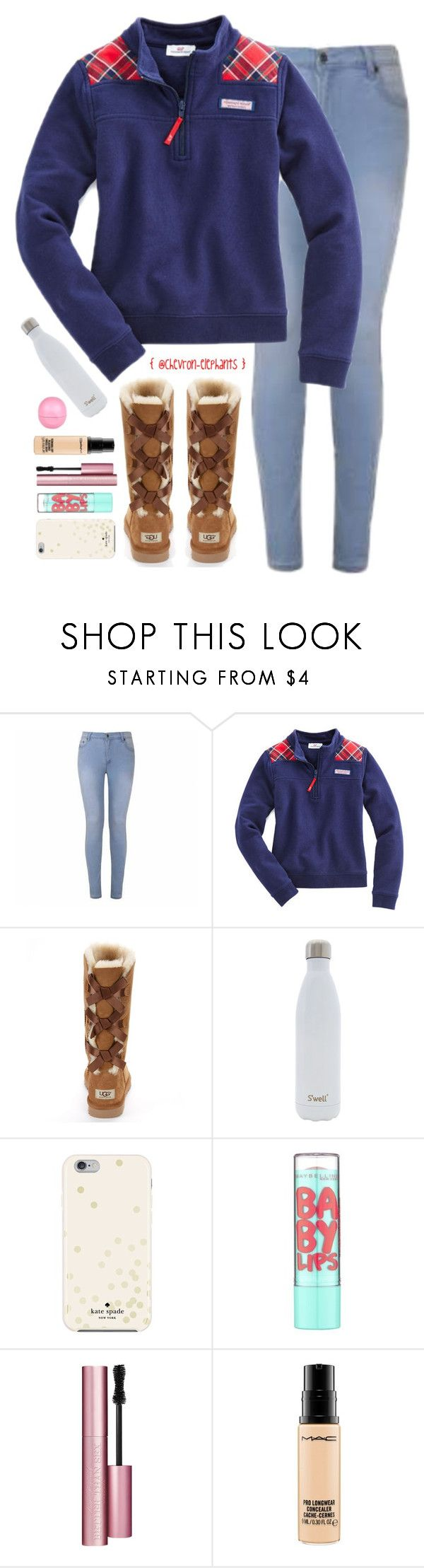"""OMG. 14 FOLLOWERS AWAY FROM 3K?!??!??!??!!!!"" by chevron-elephants ❤ liked on Polyvore featuring Ally Fashion, Vineyard Vines, UGG Australia, S'well, Kate Spade, Maybelline, Too Faced Cosmetics, MAC Cosmetics and River Island"