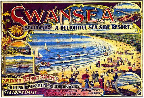 Swansea South Wales A Delightful Seaside Resort Train Rail Travel Poster