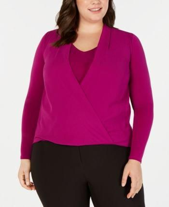Plus Size Surplice Blouse, Created for Macy's 17