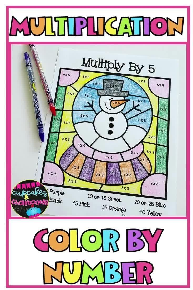 Winter Multiplication Facts Color By Number Worksheets Video Video Multiplication Facts Math Lesson Plans Upper Elementary Math [ 1102 x 734 Pixel ]