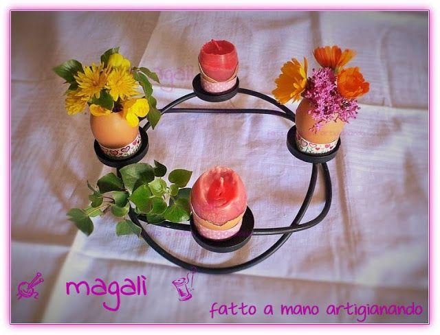 magalì: centrotavola Pasqua candeluova riciclo