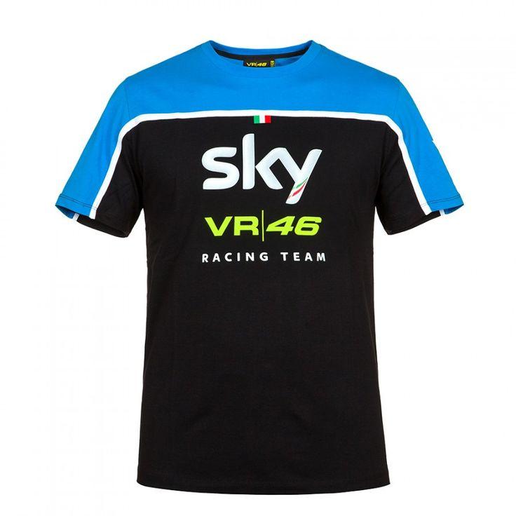 2016 Valentino Rossi VR46 SKY Yarış Takım Moto GP T-shirt Mavi-Siyah
