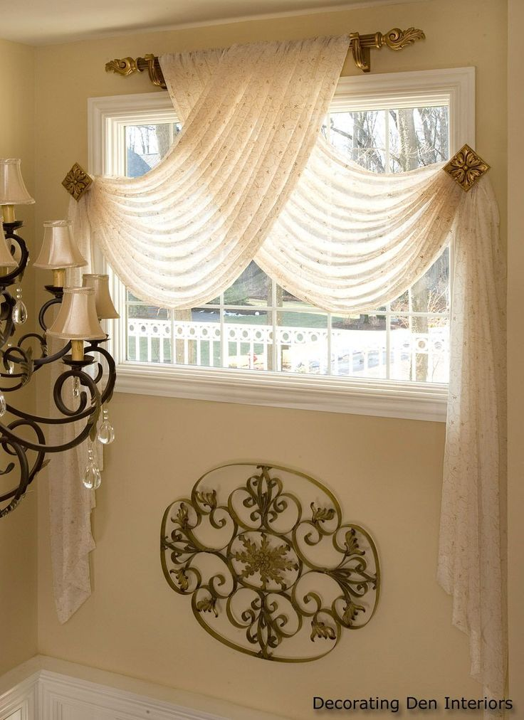 bedrooms curtains designs. Window Scarf With Sheer Swag Panels.but Look At The Scroll Design, Bet You Could Duplicate To Rolls. Bedrooms Curtains Designs