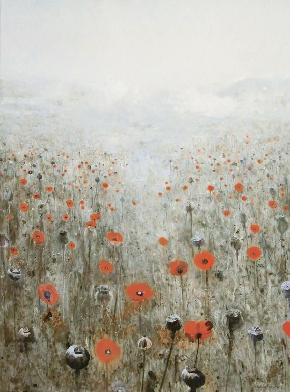 Poppyfield  by Kevin Gray  Berlin, Germany    2012  oil / collage  on canvas  91 x 79 inch  (170 x 230 cm)