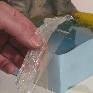 Glue waterfall to plastic
