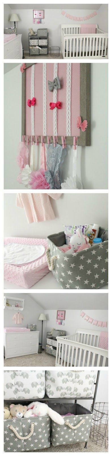 Gray, white, and light pink nursery for a baby girl- Minky pink changing pad cover, white dresser as changing table, hair bow and headband decorative frame, grey canvas and rope decorative storage baskets with stars and elephants, metal wire laundry baske