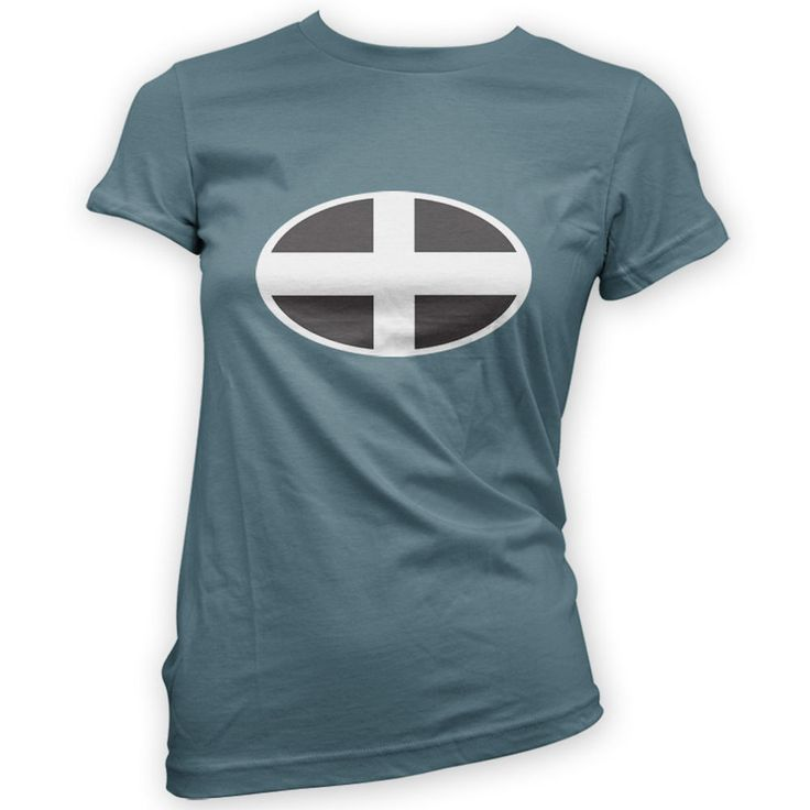 Cornish Flag Womens T-Shirt -x14 Colours- Pasty Surf Skate Camping Newquay Bike