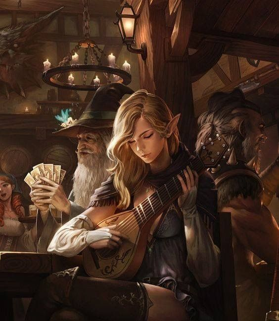 Party of 4 f High Elf Bard Lute m Wizard cards Hat Robes f Pixie m Barbarian tavern urban story
