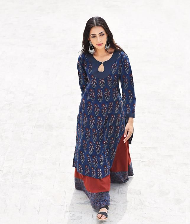 Rooted in Ajrakh Step by Step Cotton kurtas, skirts and palazzos in earthy hues Online at Jaypore.com