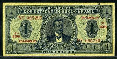 Brazil banknotes 1 Mil Reis banknote of 1921, David Morethson Campista.