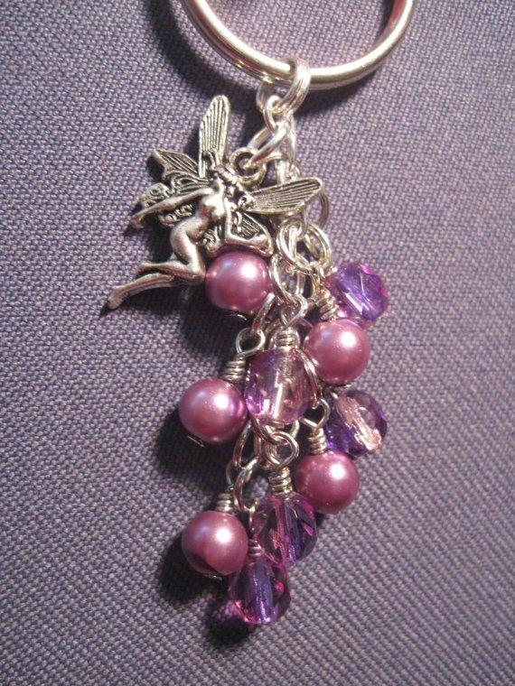 Purple Pearl and Czech Fire Polished Glass Bead Key Chain by FoxyFundanglesByCori, $5.00