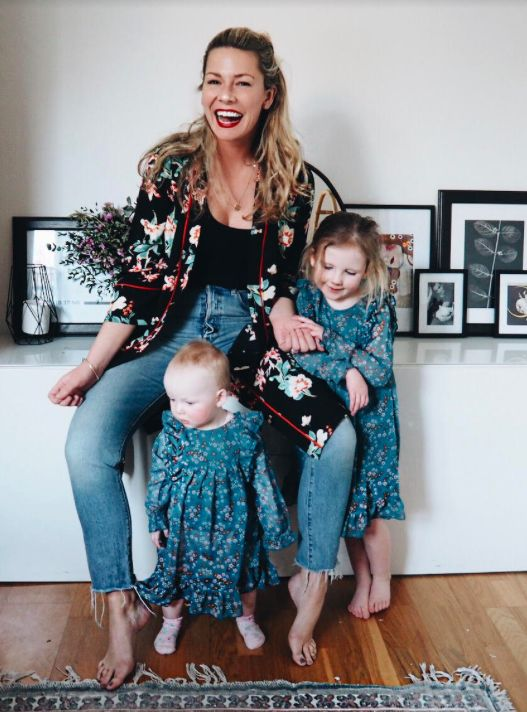 We caught up with the lovely Ashley from @amothersedit to talk navigating motherhood and dressing with confidence | Ashley wears Wallis Petite Oriental Kimono | Girls wear Outfit Kids Blue Floral Dress