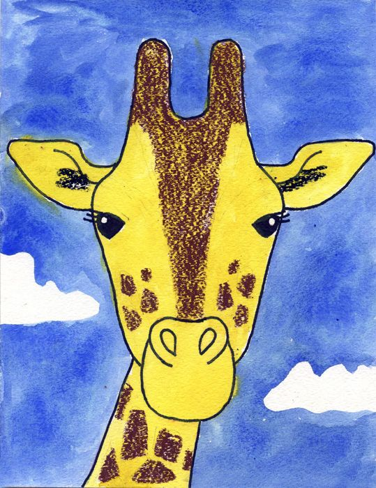 Follow my tutorial to learn how to draw a giraffe, and then finish it off with watercolors and oil pastels.