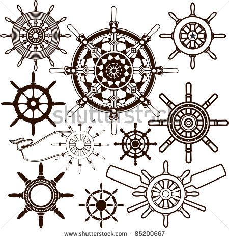 Pin Clipart Outlined Ship Helm Wheel Royalty Free Vector Illustration