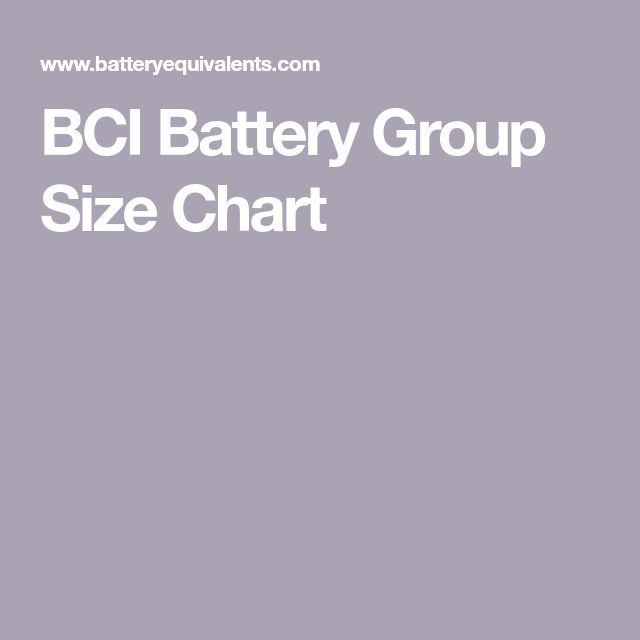 BCI Battery Group Size Chart in 2020 | Battery, Ups system ...