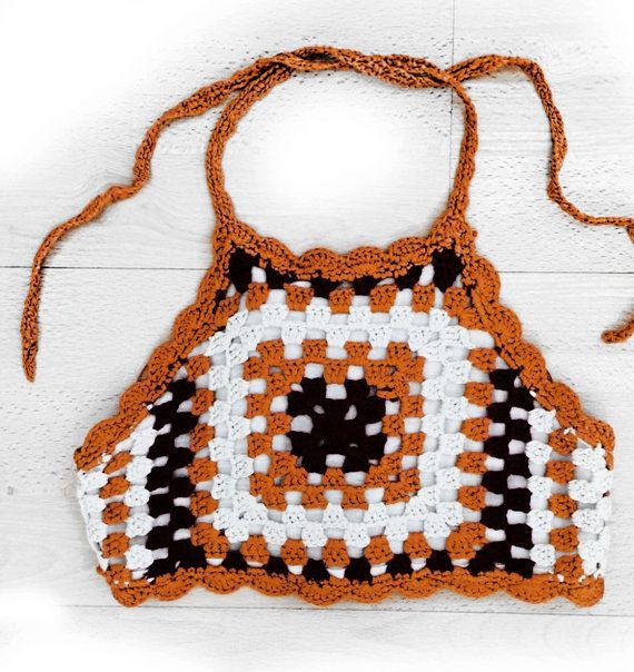 Orange Bikini Crochet Halter Bikini Top by WomensScarvesTrend