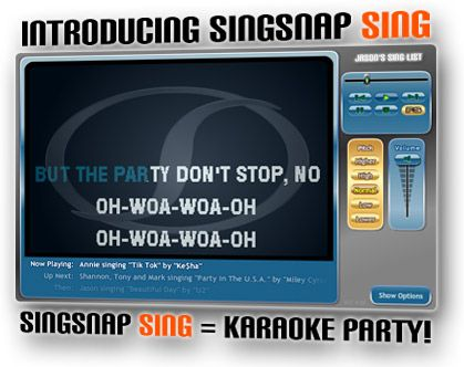 Sing karaoke together! On this site you can play multiplayer and even see each other on a webcam.