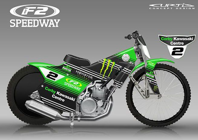 F2 Speedway is being presented as a stand-alone, low-cost version of speedway racing. The machines use gasoline-burning 450cc four-stroke motocross bike engines in conventional speedway chassis. ILLUSTRATIONS BY DAVE CURTIS.