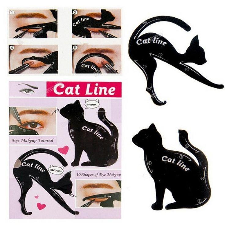 2pcs/Set Beauty Makeup Cat Eye Eyeliner Stencil New Design Eyeliner Stencil Models Eyebrow Template Shaper Tool Kit -- BuyinCoins.com