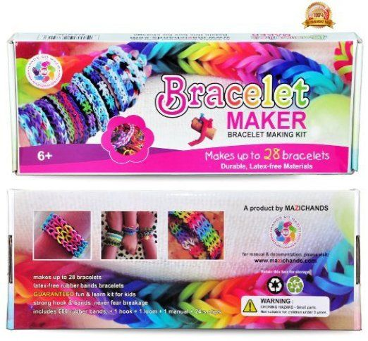 Arts and Crafts For Girls - Best Birthday Gifts/Toys/DIY Kit For Girls/Boys Above 6 Year Old - Premium Bracelet(Jewelry) Making Kit aka Friendship Bracelet Maker/Craft Kits With Loom, Rubber Bands, Clips & Manual Included - Arts/Crafts Bracelets Kit/Toy by Mazichands